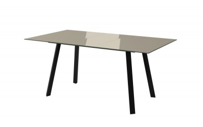Sergio Taupe Glass Extending Dining Table