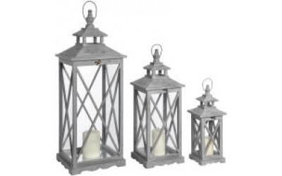 Set of Three Antique Grey Rustic Wooden Lanterns