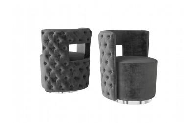 Tula Dark Grey Velvet Swivel Occasional Chair