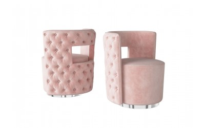 Tula Pink Velvet Swivel Occasional Chair
