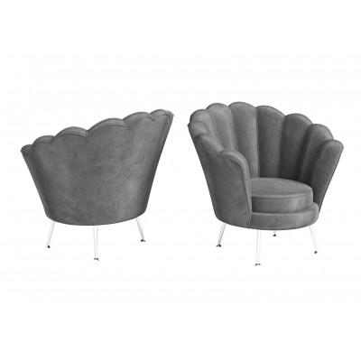 Venus Dark Grey Velvet Shell Design Occasional Chair