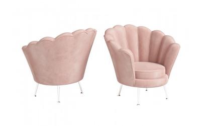 Venus Pink Velvet Shell Design Occasional Chair