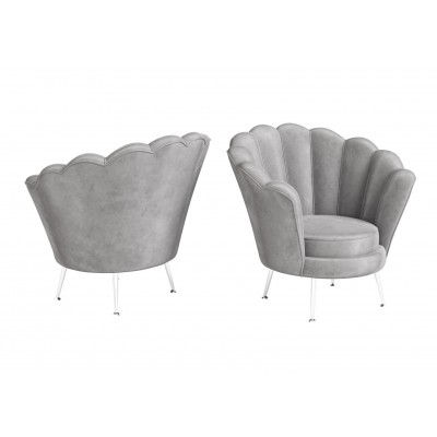 Venus Silver Velvet Shell Design Occasional Chair